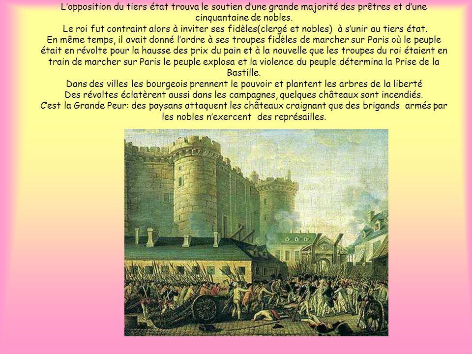 L'opposition du tiers état trouva le soutien d'une grande majorité des prêtres et d'une cinquantaine de nobles.