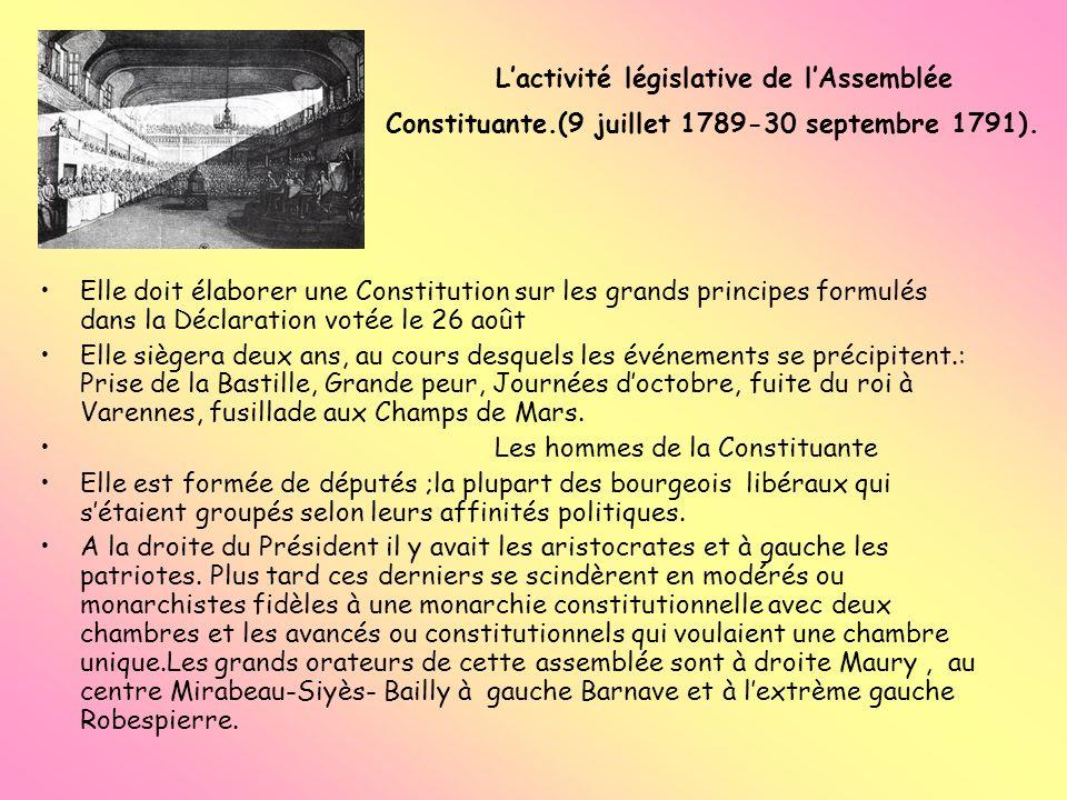 L'activité législative de l'Assemblée Constituante