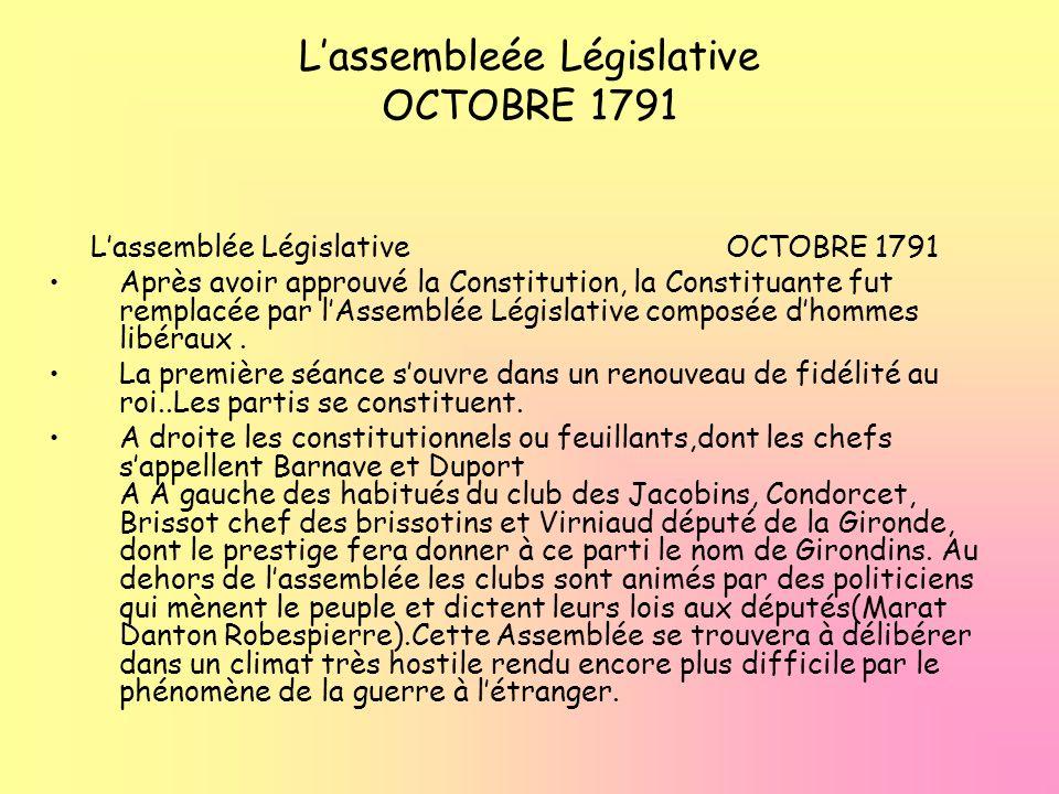 L'assembleée Législative OCTOBRE 1791