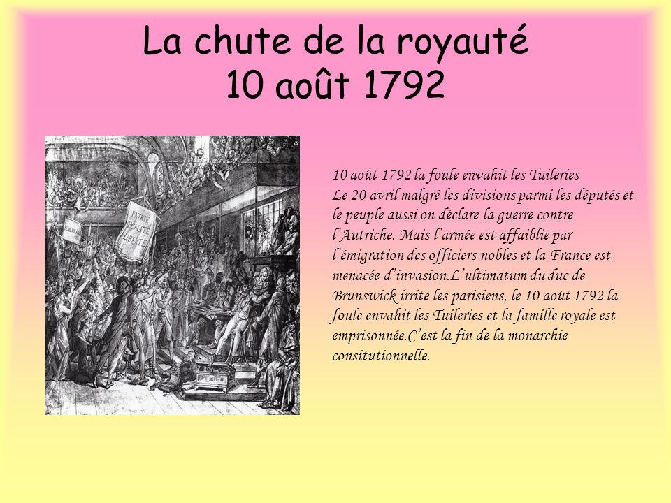 La chute de la royauté 10 août 1792