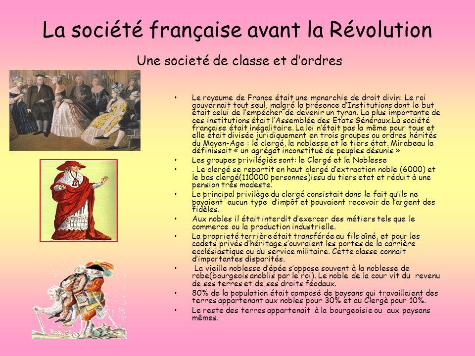 La société française avant la Révolution Une societé de classe et d'ordres