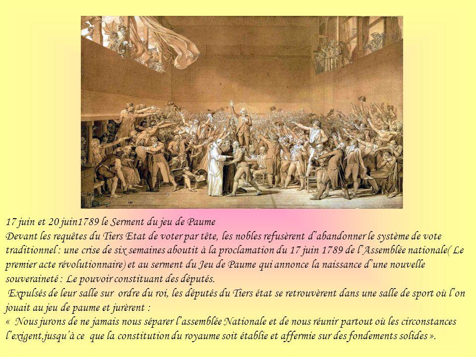 17 juin et 20 juin1789 le Serment du jeu de Paume