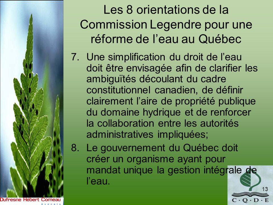 Les 8 orientations de la Commission Legendre pour une réforme de l'eau au Québec