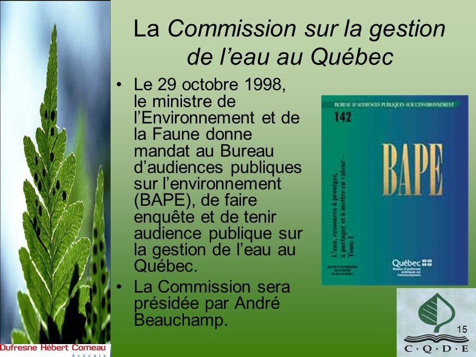 La Commission sur la gestion de l'eau au Québec