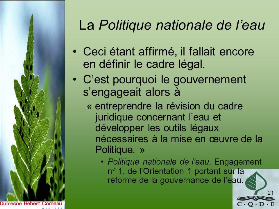La Politique nationale de l'eau