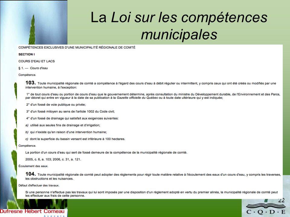 La Loi sur les compétences municipales