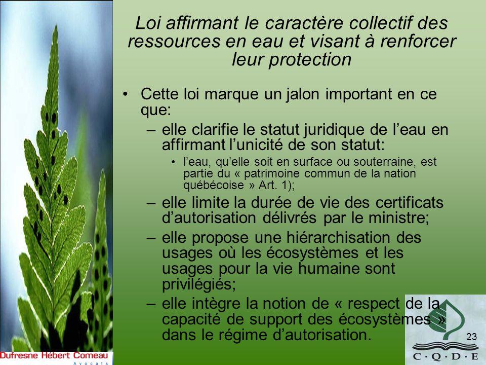 Loi affirmant le caractère collectif des ressources en eau et visant à renforcer leur protection