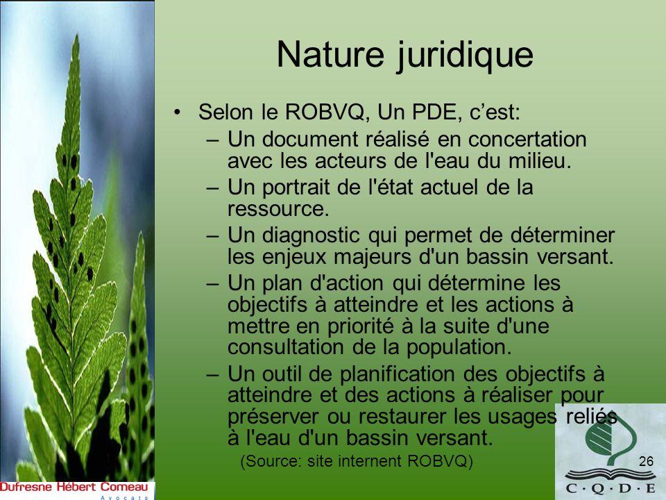 Nature juridique Selon le ROBVQ, Un PDE, c'est: