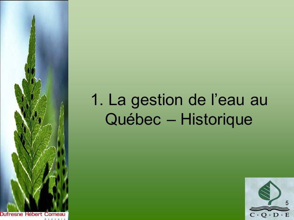 1. La gestion de l'eau au Québec – Historique