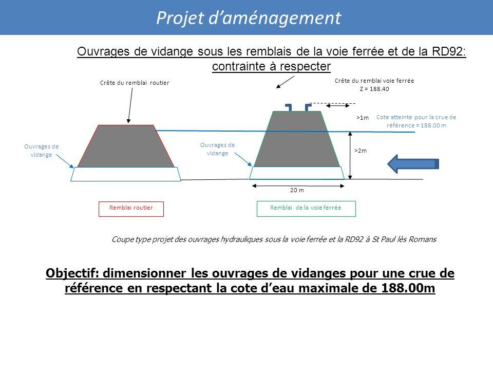Projet d'aménagement Ouvrages de vidange sous les remblais de la voie ferrée et de la RD92: contrainte à respecter.