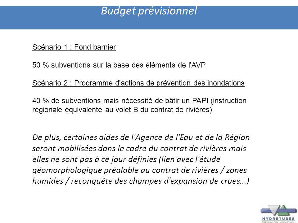 Budget prévisionnel Scénario 1 : Fond barnier. 50 % subventions sur la base des éléments de l AVP.