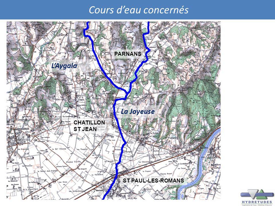 Cours d'eau concernés L'Aygala La Joyeuse PARNANS CHATILLON ST JEAN