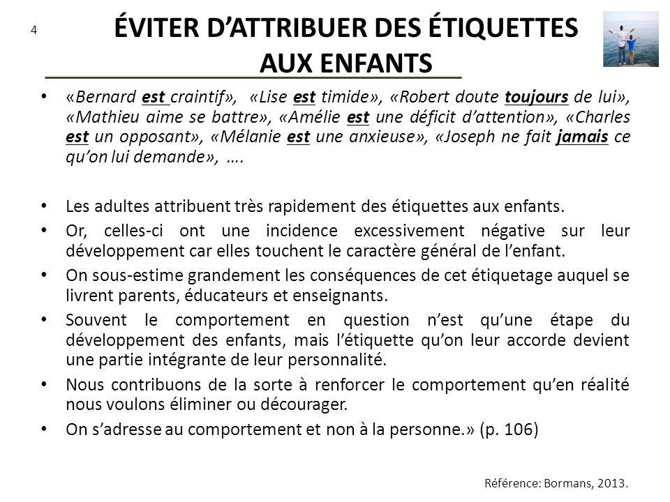 ÉVITER D'ATTRIBUER DES ÉTIQUETTES AUX ENFANTS
