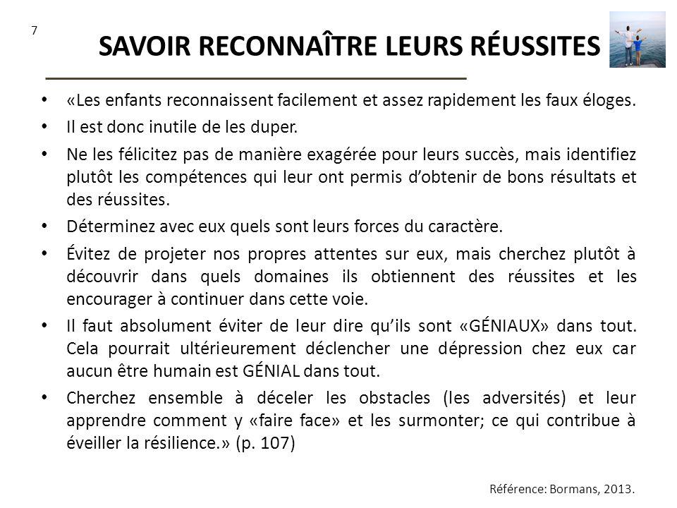 SAVOIR RECONNAÎTRE LEURS RÉUSSITES