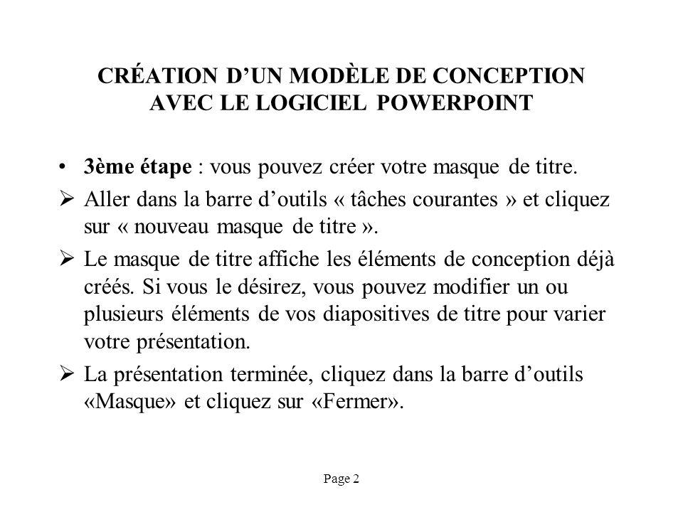 CRÉATION D'UN MODÈLE DE CONCEPTION AVEC LE LOGICIEL POWERPOINT