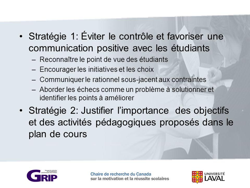 Stratégie 1: Éviter le contrôle et favoriser une communication positive avec les étudiants