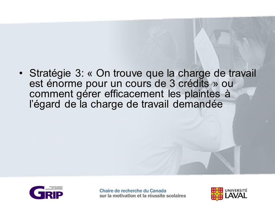 Stratégie 3: « On trouve que la charge de travail est énorme pour un cours de 3 crédits » ou comment gérer efficacement les plaintes à l'égard de la charge de travail demandée