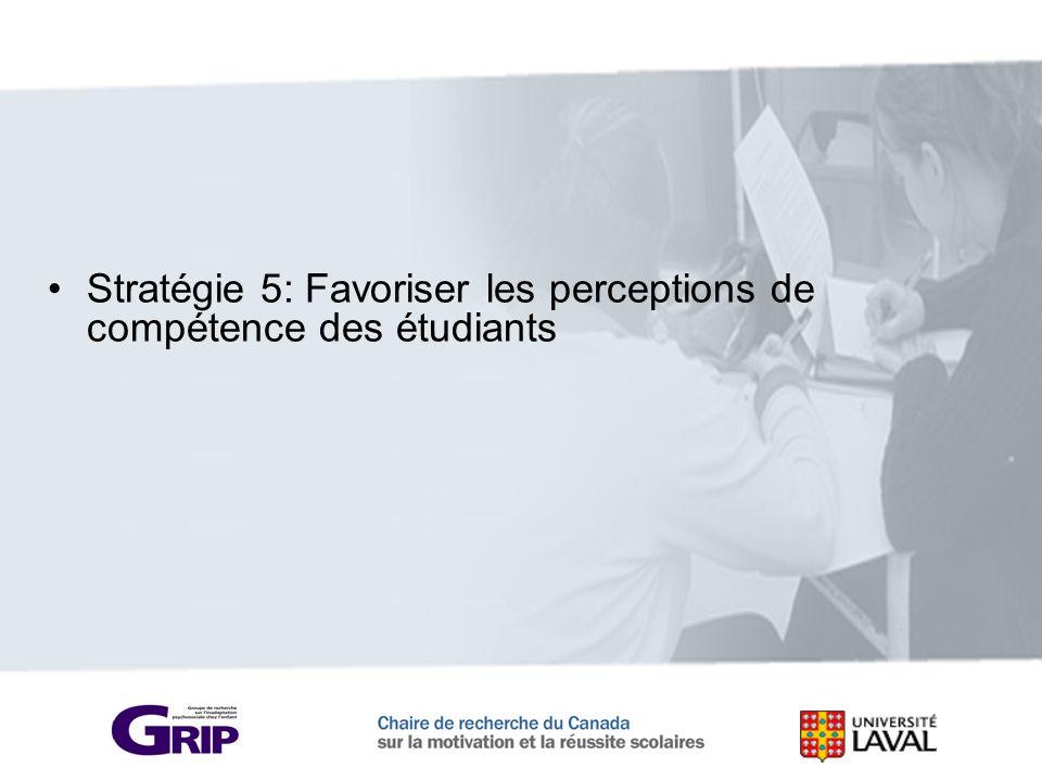 Stratégie 5: Favoriser les perceptions de compétence des étudiants