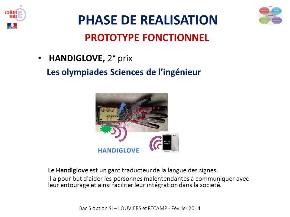 PHASE DE REALISATION PROTOTYPE FONCTIONNEL HANDIGLOVE, 2e prix