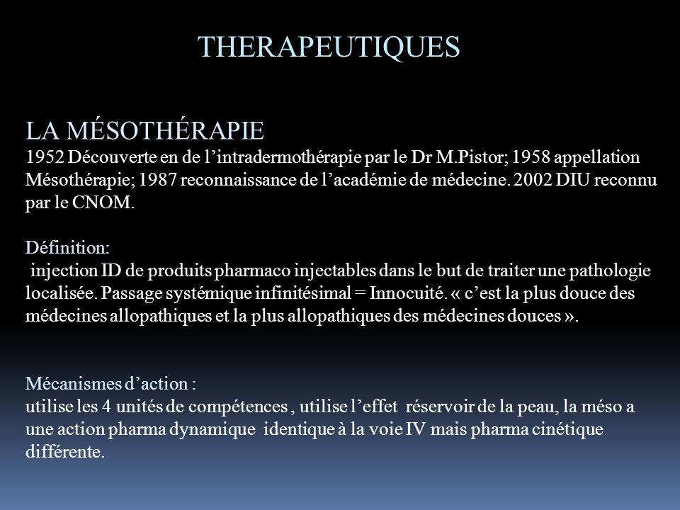 THERAPEUTIQUES LA MÉSOTHÉRAPIE