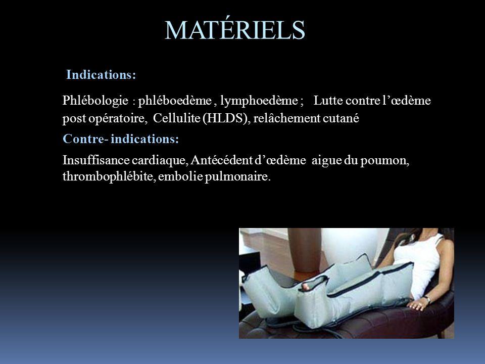 MATÉRIELS Indications: Phlébologie : phléboedème , lymphoedème ; Lutte contre l'œdème post opératoire, Cellulite (HLDS), relâchement cutané.