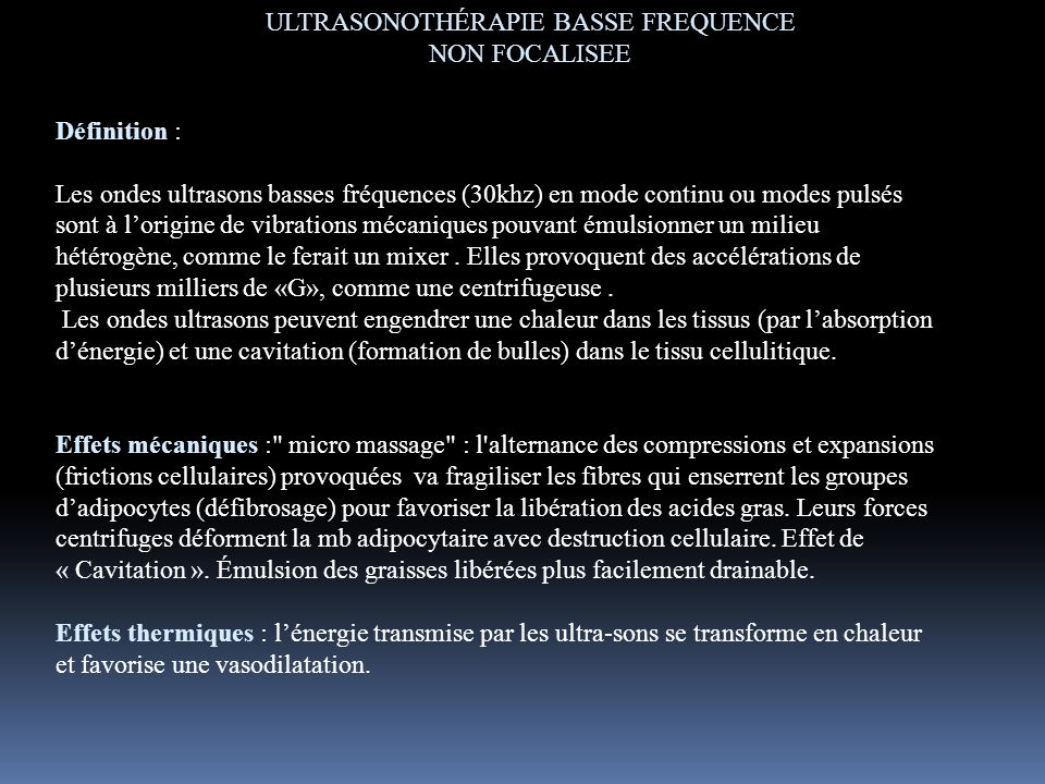 ULTRASONOTHÉRAPIE BASSE FREQUENCE