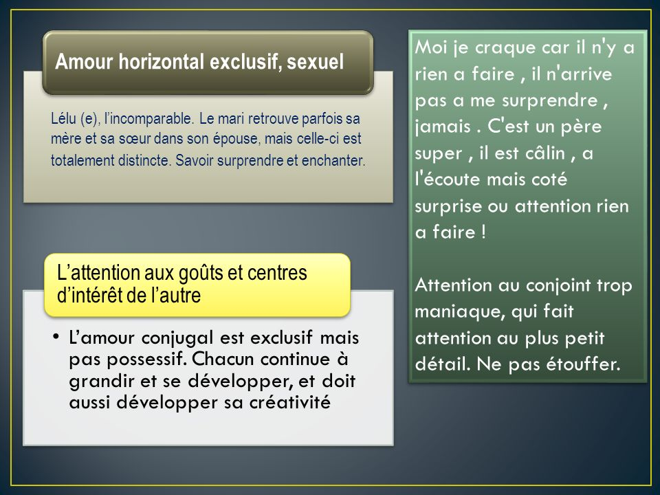 Amour horizontal exclusif, sexuel