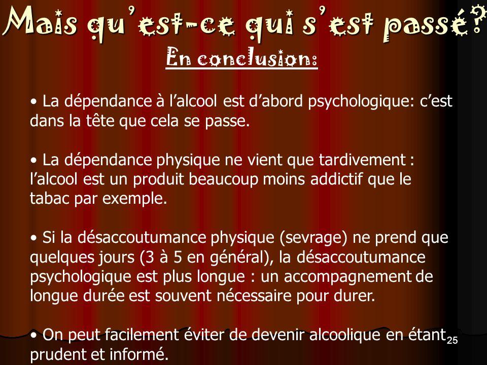En conclusion: La dépendance à l'alcool est d'abord psychologique: c'est dans la tête que cela se passe.