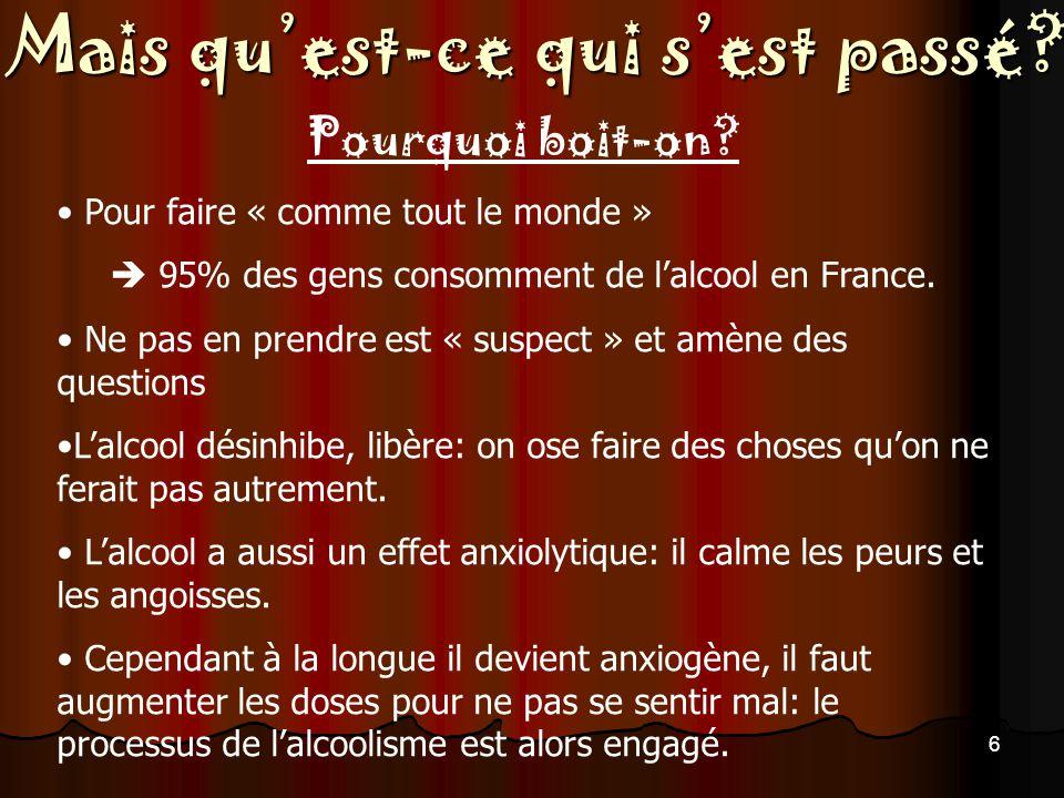  95% des gens consomment de l'alcool en France.