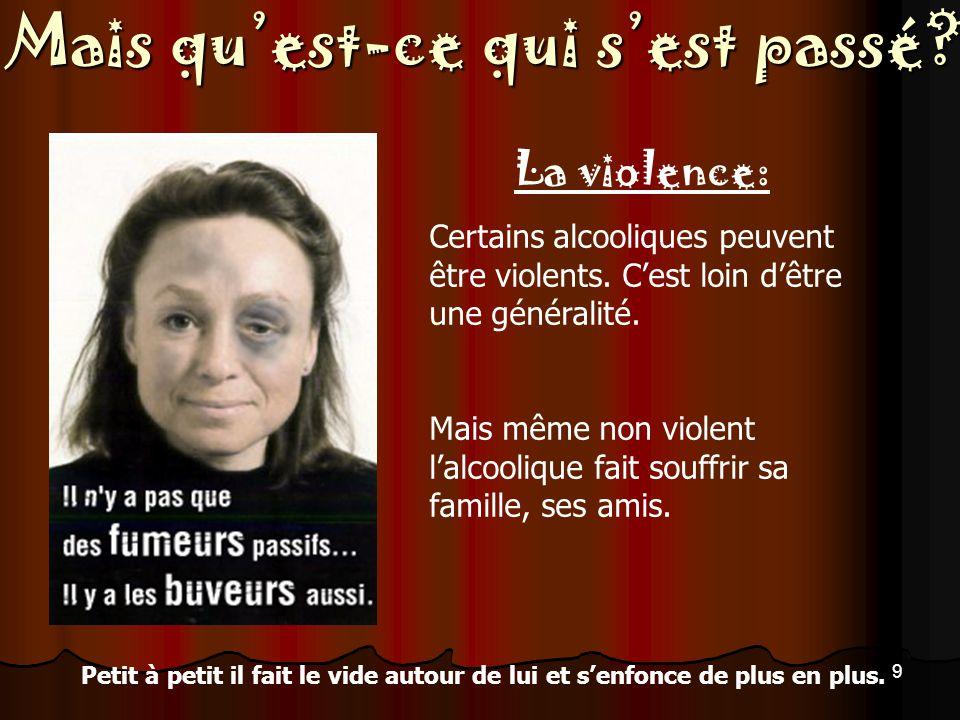La violence: Certains alcooliques peuvent être violents. C'est loin d'être une généralité.