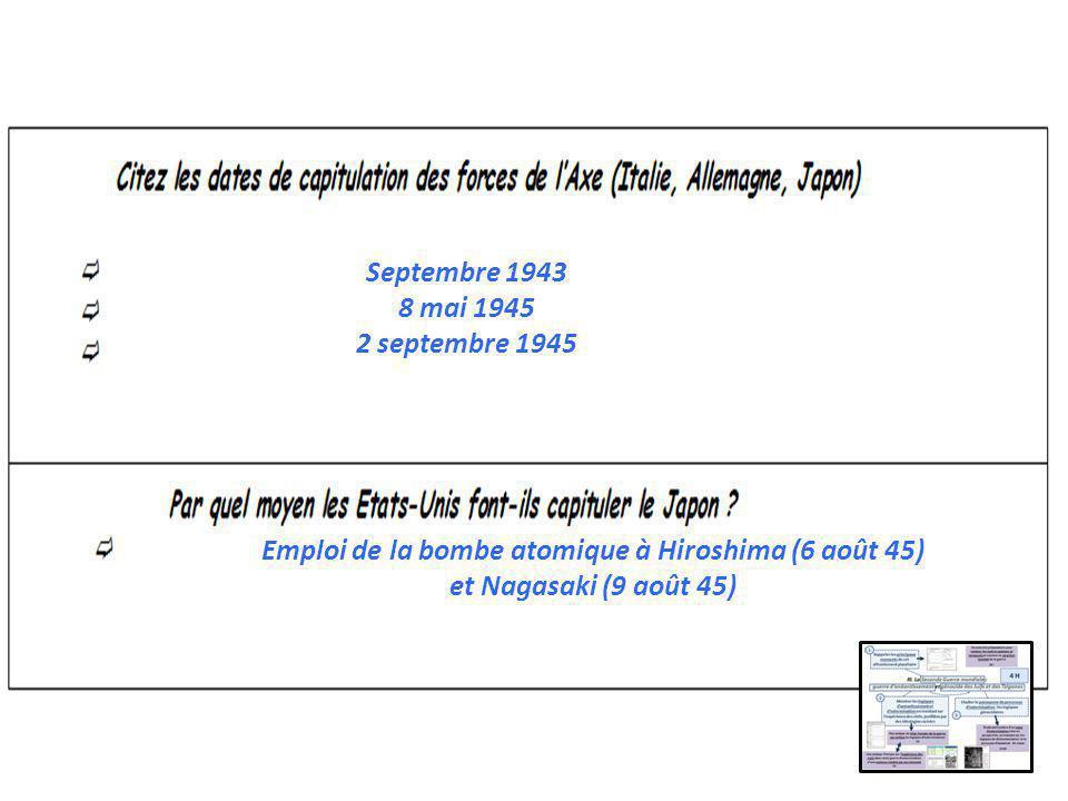 Septembre 1943 8 mai 1945. 2 septembre 1945.