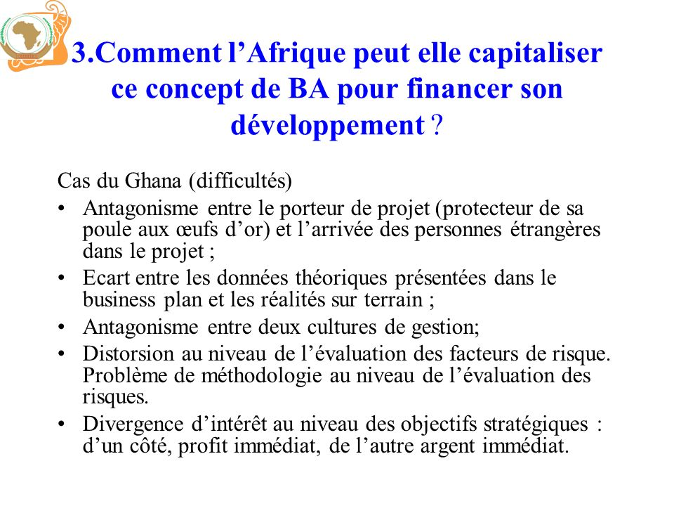3.Comment l'Afrique peut elle capitaliser ce concept de BA pour financer son développement