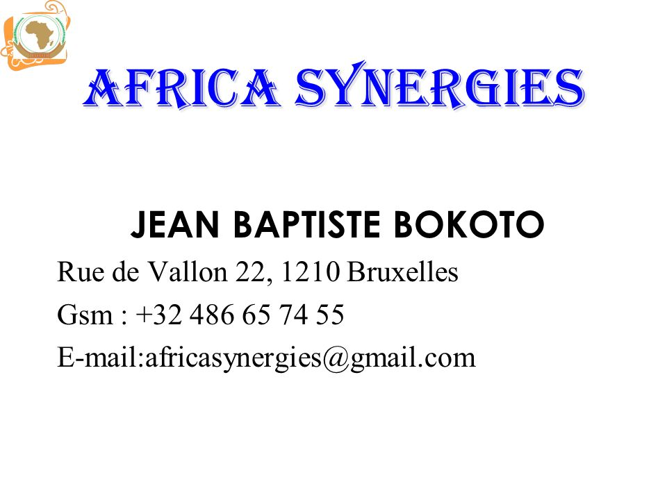 Africa synergies JEAN BAPTISTE BOKOTO Rue de Vallon 22, 1210 Bruxelles