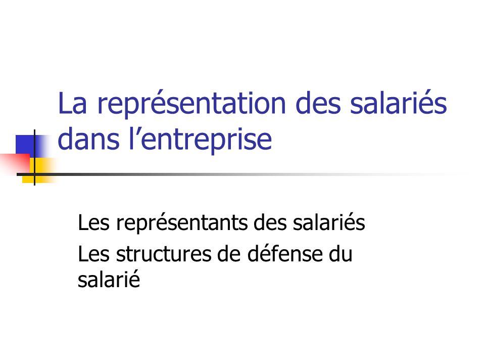 La représentation des salariés dans l'entreprise