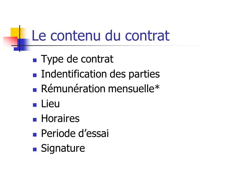 Le contenu du contrat Type de contrat Indentification des parties