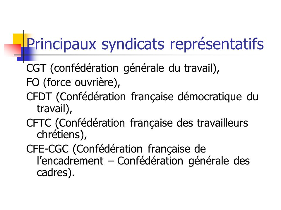 Principaux syndicats représentatifs