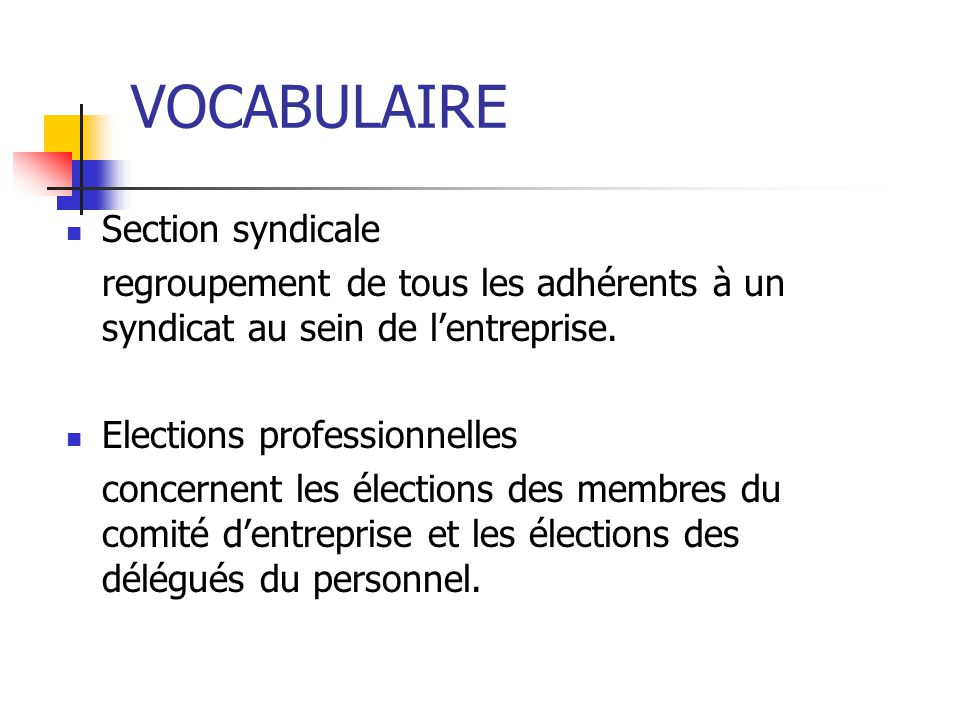 VOCABULAIRE Section syndicale