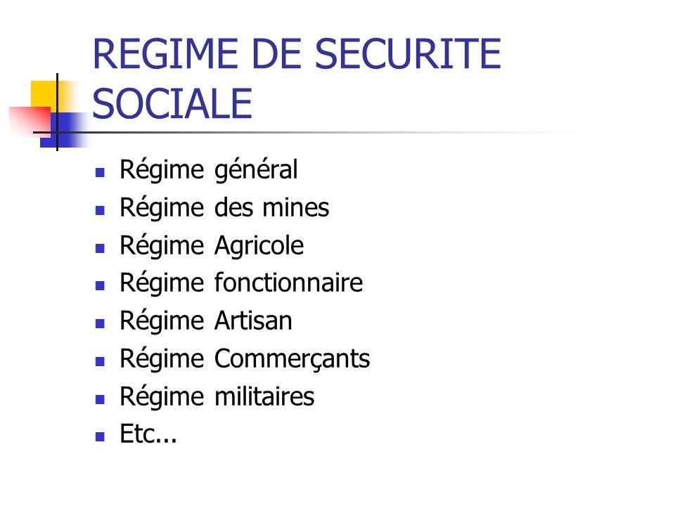 REGIME DE SECURITE SOCIALE