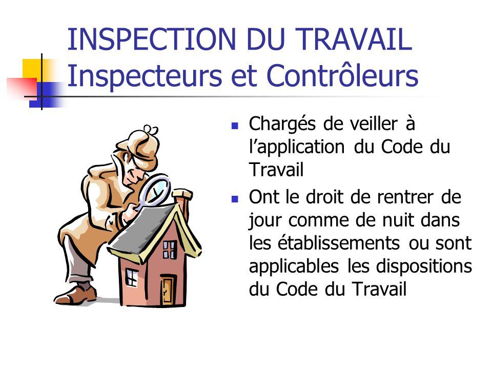 INSPECTION DU TRAVAIL Inspecteurs et Contrôleurs
