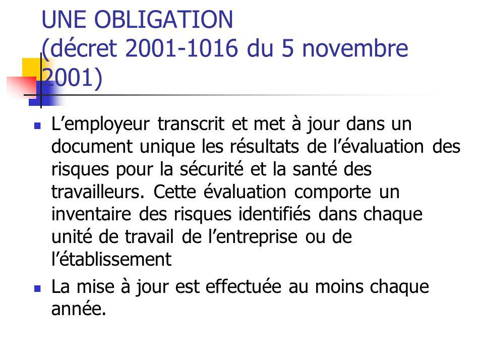 UNE OBLIGATION (décret 2001-1016 du 5 novembre 2001)