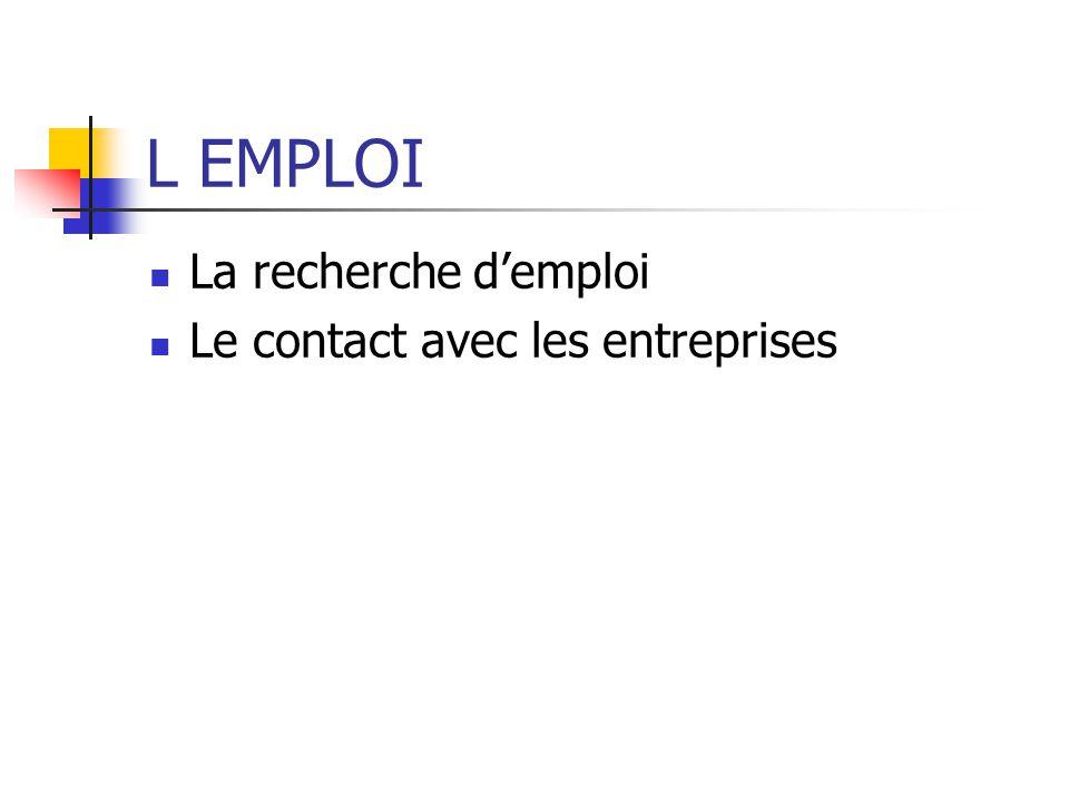 L EMPLOI La recherche d'emploi Le contact avec les entreprises
