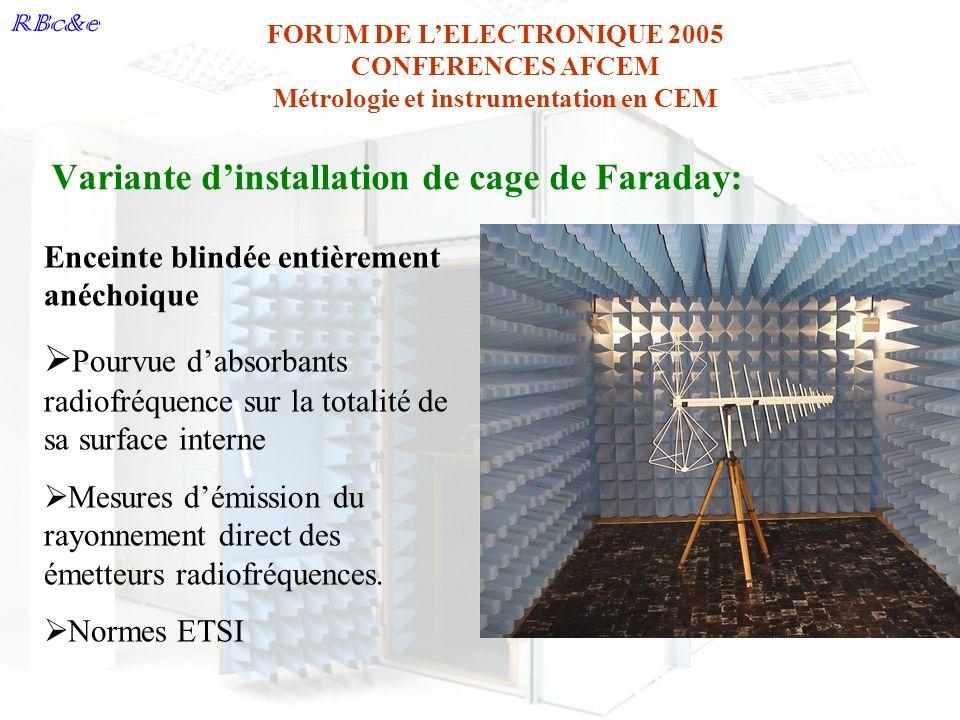 Variante d'installation de cage de Faraday: