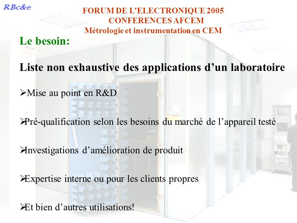 Liste non exhaustive des applications d'un laboratoire