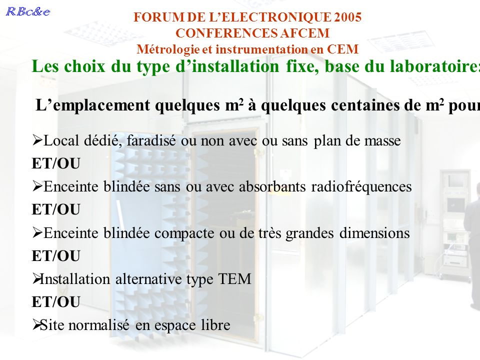 Les choix du type d'installation fixe, base du laboratoire: