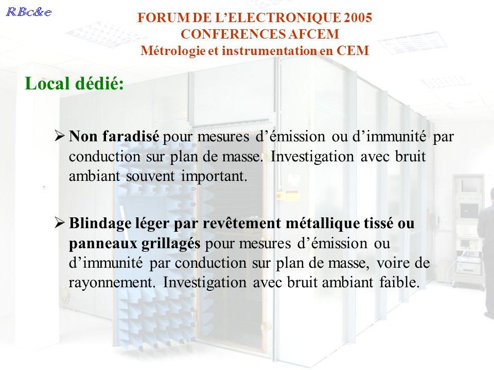 Local dédié: Non faradisé pour mesures d'émission ou d'immunité par conduction sur plan de masse. Investigation avec bruit ambiant souvent important.