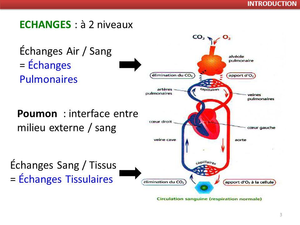 Échanges Air / Sang = Échanges Pulmonaires