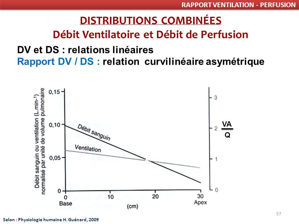 DISTRIBUTIONS COMBINÉES Débit Ventilatoire et Débit de Perfusion