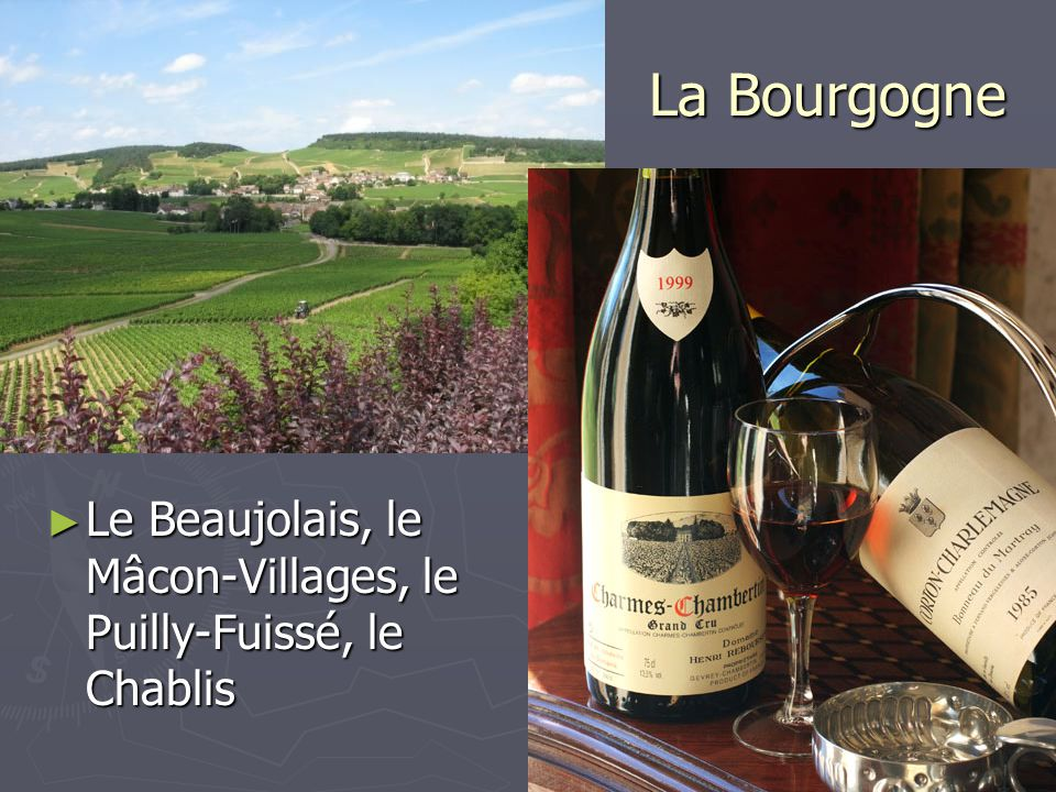 La Bourgogne Le Beaujolais, le Mâcon-Villages, le Puilly-Fuissé, le Chablis