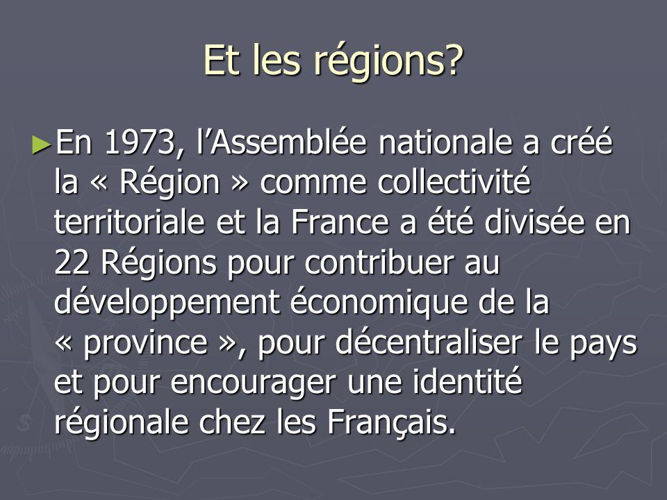 Et les régions