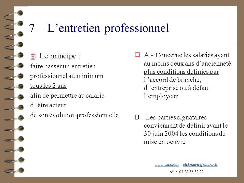 7 – L'entretien professionnel